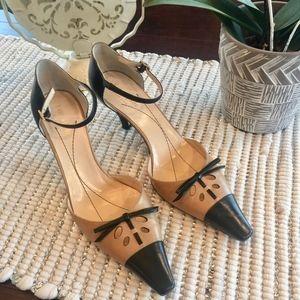 Kate Spade Ankle Strap 2 Tone Kitten Heel